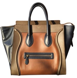 Céline Celine Luggage Leather Tote in brown