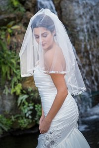 Zveil Two Tier Veil With Lace And Pearl Trim