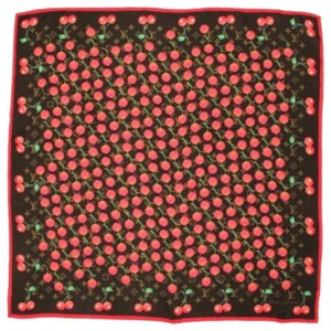 Louis Vuitton Louis Vuitton Brown & Red Silk Cerises Cherry Print Scarf Limited Edition
