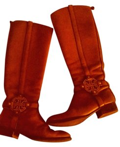 Tory Burch Leather Leather Logo Equestrian Ridingboot Caramel Boots