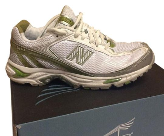 New Balance Running Comfortable Cushioned Lace Up Mesh Casual White/Green Athletic