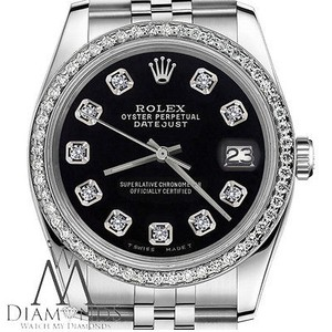 Rolex Womens Rolex 26mm Datejust Black Color Dial With Diamonds Watch
