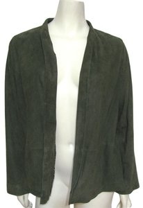 Eileen Fisher Goat Suede green Leather Jacket