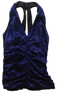 Express Halter Satin Ruched Blue Halter Top