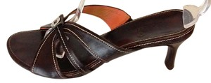 Cole Haan Leather Orange-lined Slim Heels White Topstitching Brown Sandals