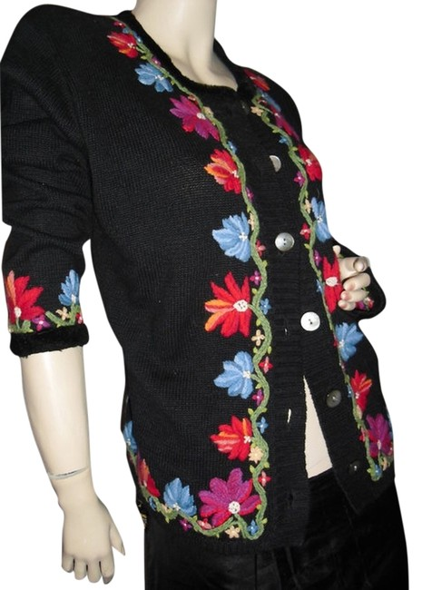 Item - Black Floral Hand Embroidered Sweater @ Fashionista Style Boutique Cardigan Size 10 (M)
