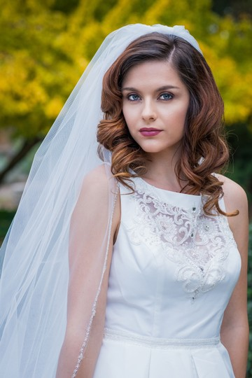Zveil Ivory Long Cathedral Length Beaded Edge Bridal Veil Image 1