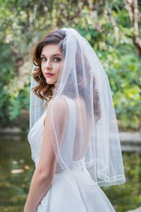 Zveil Waist Lenght Veil With Pearl And Beaded Edge