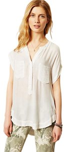 Anthropologie Tee Cloth&stone Top Cream