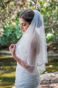 Zveil Waist Length Short Two Tier Veil With Beaded Edge