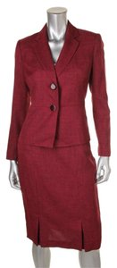 Le Suit LE SUIT NEW Womens Red Tweed Two-Button 2PC Skirt Suit Petites Size 10