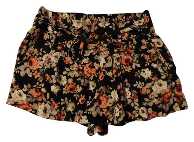 Item - Black White Green Red/Pink Floral Elastic Bow Shorts Size 4 (S, 27)