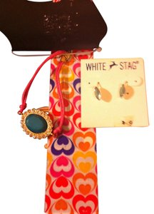 White Stag 2 Peice BRAND NEW -Jewelry -#1- RUE 21 Pink Bracelet with Green Emblem-#2 White Stag Green/Silver Earrings