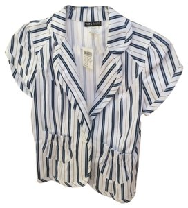 Wet Seal Blazer Stripes Button Down Shirt Blue, white
