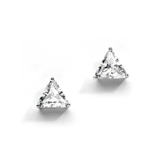 "Silver/Rhodium "" S A L E "" Amazing Trillion Cut Crystal Studs Earrings"