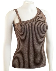 Cache Silk Blend Asymmetrical Strappy Small Top Bronze