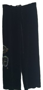 Other Dragon Silk Embroidered Trouser Pants Black