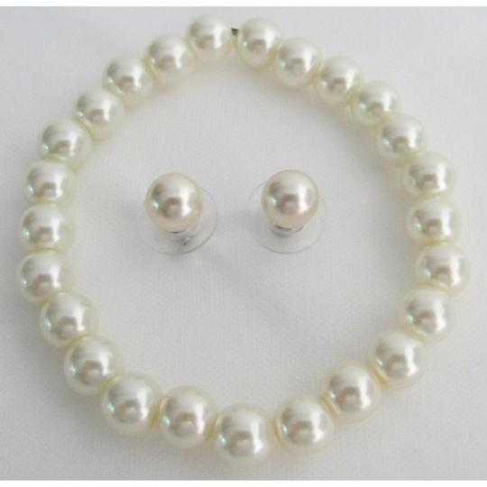 Ivory Classic Pearl Stretchable Pearl Stud Earrings Bracelet