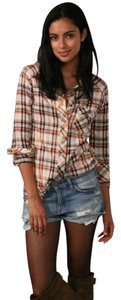 Free People Plaid Peal Snap Flannel Button Down Shirt Multicolor