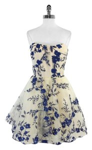Marchesa Notte short dress Cream Blue Floral Embroidered on Tradesy