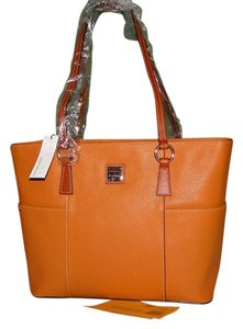 Dooney & Bourke Helena Pebble Leather Shopper Tote in Peanut Brittle