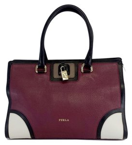 Furla Burgundy Genuine Leather Margot Tote