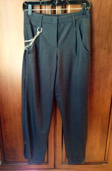 Brunello Cucinelli Chain Tapered Tailored Fit Stretchy 7/8 Length Trouser Pants Charcoal