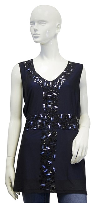 Item - Crossroads Blue Sequin 1x Blouse Size OS (one size)