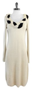 Temperley London Cream Black Braided Neckline Dress Dress Sweater