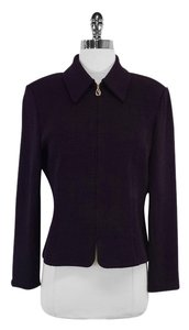 St. John Plum Knit Zip Up Jacket