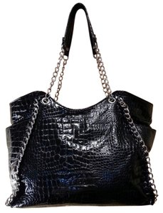 Charming Charlie Dual Chain Handles Silver Hardware Croc Embossed Fabric Two-tone Striped Interior Side Pockets Zipper Pocket Edgy Tote in Black