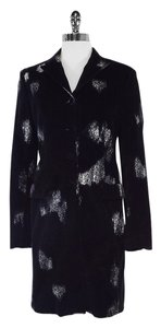 Piazza Sempione Velvet Black White Chalk Print Coat