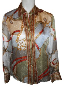 Talbots Silk Blouse Shirt Button Down Shirt multi color print