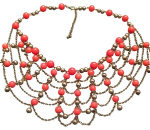 Francesca's Coral And Gold Colored Necklace