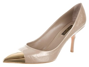 Louis Vuitton Leather Peep Toe Pump Lv Beige, Gold Pumps