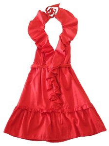 Bebe short dress Coral Halter Ruffle on Tradesy