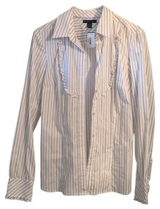 Tommy Hilfiger Button Down Shirt White with purple and dark green stripes.