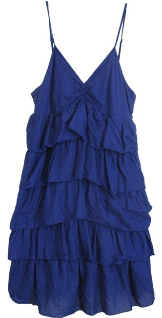 Preload https://item4.tradesy.com/images/blue-ruffled-knee-length-short-casual-dress-size-8-m-1261208-0-0.jpg?width=400&height=650