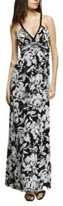 Black & White Floral Maxi Dress by Express Sleeveless Empire Waist
