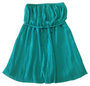 dm bm short dress Teal Pleated Strapless on Tradesy