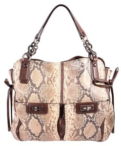 Coach Python Leather Tote in Brown