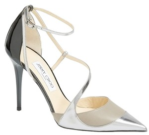 Jimmy Choo Patent Leather Stiletto Black and Silver Pumps