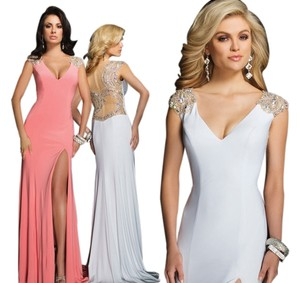 Tony Bowls Halter Fron Slit Mesh Coral Dress