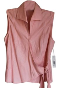 Kate Hill Silk Sleeveless Pointed Collar Diamond Design Top Pink