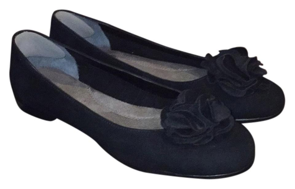 1ec678062e77 Aerosoles Black Suede Ballerina with Flower Flats Size US 11 Regular ...