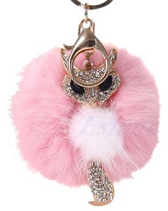 Other Pink Rabbit Fur Fox Key Chain Key Ring Purse Charm Free Shipping