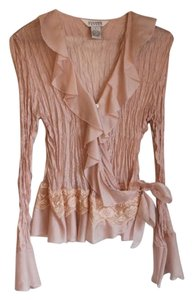Allison Taylor Longsleeve Flare Sleeves Lace Vintage Look Top Pink with ruffles in front