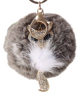 Gray Rabbit Fur Fox Rhinestone Key Chain Purse Charm Free Shipping