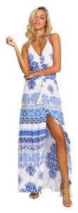 Blue and white print Maxi Dress by Hello Molly