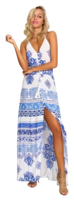 Item - Blue and White Print Life Is A Highway Long Casual Maxi Dress Size 2 (XS)